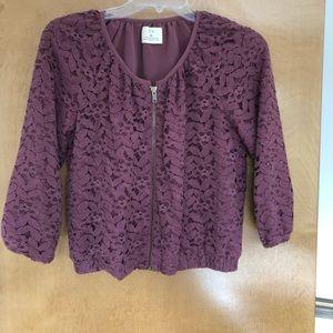 Burgundy lace three-quarter sleeve zip up jacket
